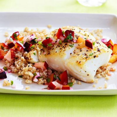 Roasted Cod and Stone-Fruit Salsa