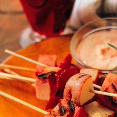 Ham Skewers with Pink Aioli