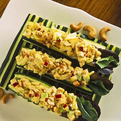 Zucchini Stuffed With Curried Turkey Salad