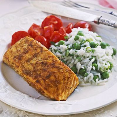 Tandoori Salmon with Raita and Rice Pilaf