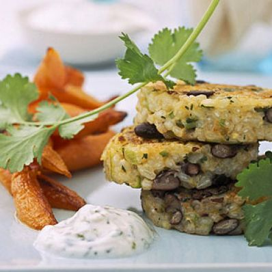 Tex-Mex Risotto Cakes With Yogurt-Cilantro Sauce