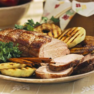 Apple-Marinated Pork Roast With Grilled Apple Rings