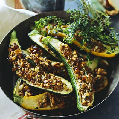 Nutty Stuffed Zucchini