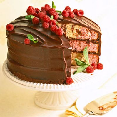 Marbled Chocolate-Raspberry Cake