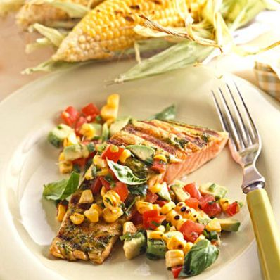 Basil-Grilled Salmon with Spicy Corn Relish