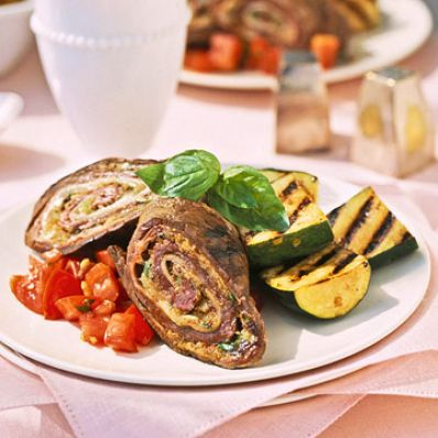 Beef Roulades With Grilled Zucchini And Fresh Tomato Sauce