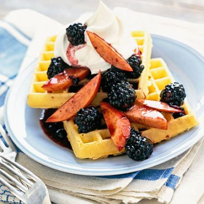 Belgian Waffles with Nectarines, Berries and Cream