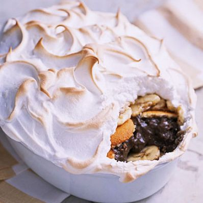 Meringue-Topped Choco-Banana Pudding