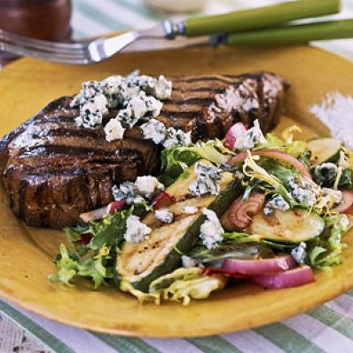 Blue Cheese Steaks with Grilled Zucchini Salad