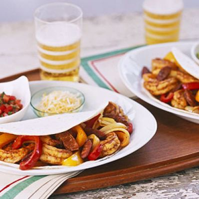 Shrimp and Sausage Fajitas