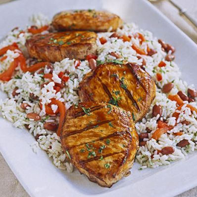 Smoky Pork Chops with Rice