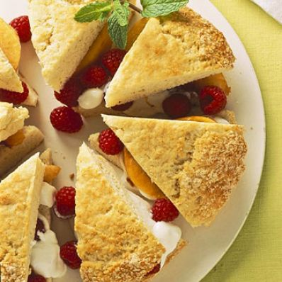Peach Melba-Sour Cream Shortcake Wedges