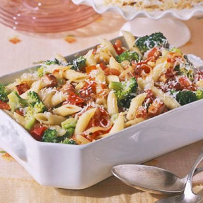 Penne with Broccoli, Bacon and Garlic