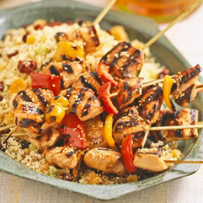 Honey-Sesame Chicken Kabobs Over Fruited Couscous