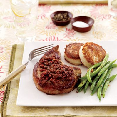 Pork Chops & Cheesy Potato Pancakes