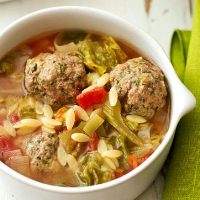 Meatball Soup with Escarole and Orzo