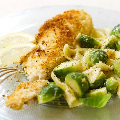Panko-Crusted Tilapia and Bow Ties