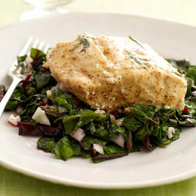 Poached Salmon with Swiss Chard