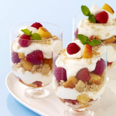 Peach and Raspberry Parfaits
