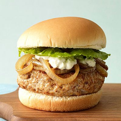 Ultimate Turkey Burger with Caramelized Onions and Blue Cheese