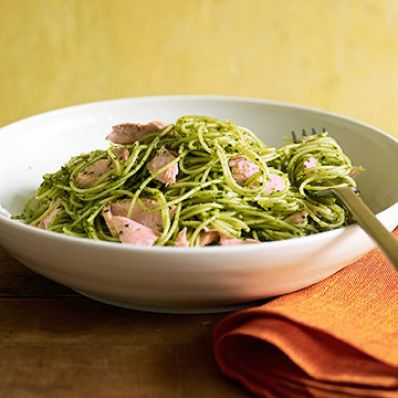 Angel Hair with Arugula Pesto and Salmon