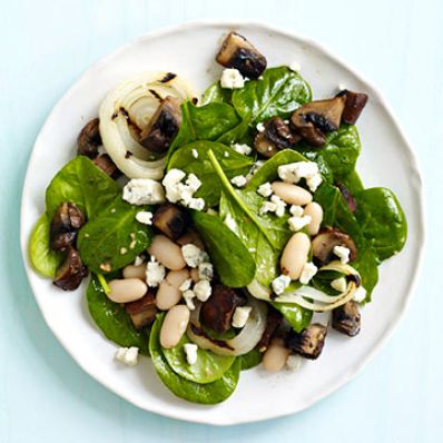 Spinach with Grilled Portobellos & Onion