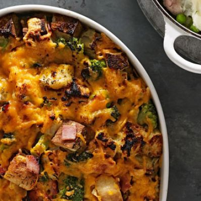 Broccoli, Cheddar and Ham Strata