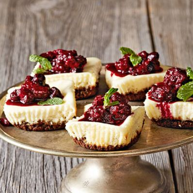 Mini Berry Goat Cheese Cakes