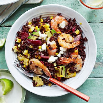 Black Rice, Shrimp and Charred Corn