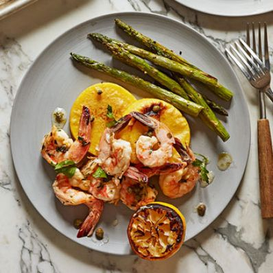 Shrimp with Asparagus and Polenta