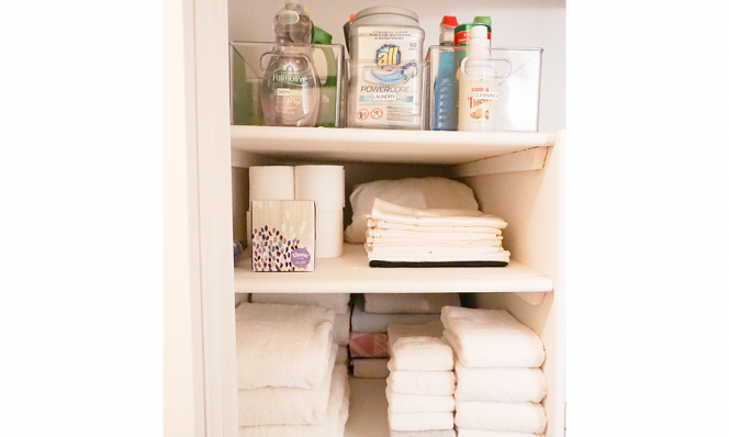 Dori's linen closet towels and cleaners