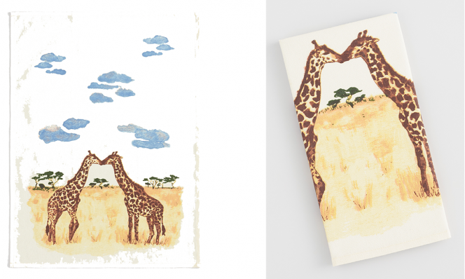 Giraffe Love Kitchen Towel