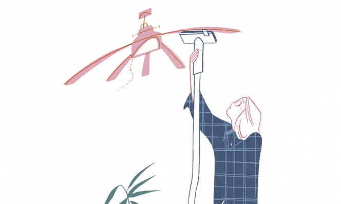 cleaning ceiling fan illustration