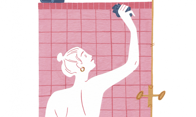 cleaning shower illustration