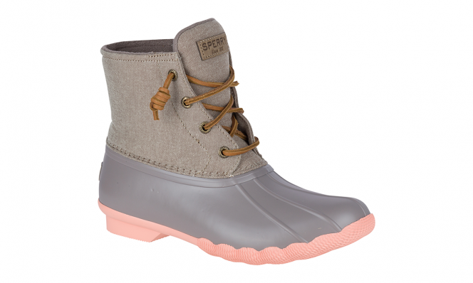Sperry gray and pink rain boots