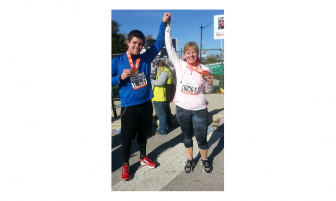 Wendy Rowland and son after half marathon