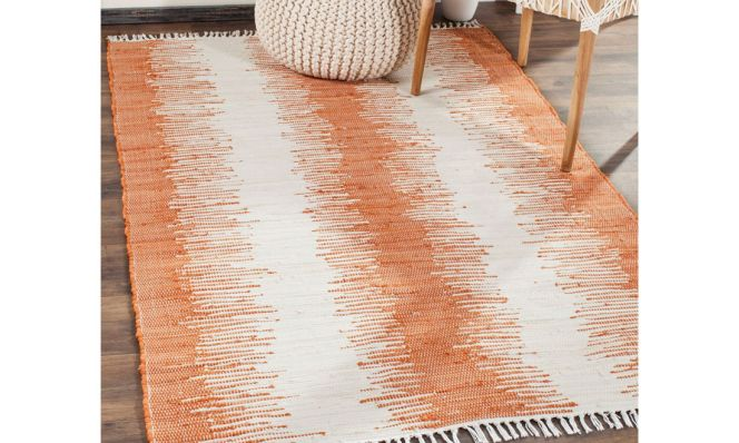 Anchor Lane Hand-Woven Cotton Orange/White Area Rug