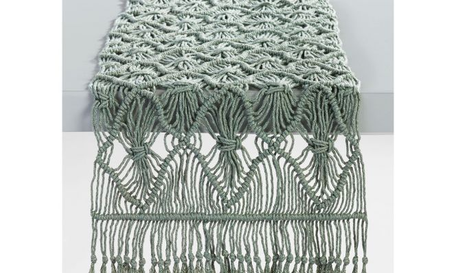Jadeite Green Macrame Table Runner
