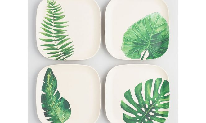 Leaf Print Pressed Bamboo Square Salad Plates Set