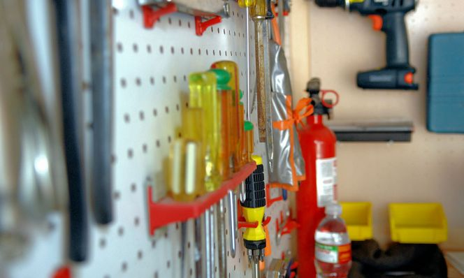 garage tool zone with pegboard