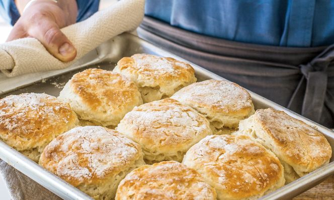 Virginia Willis's Cathead Biscuits on pan