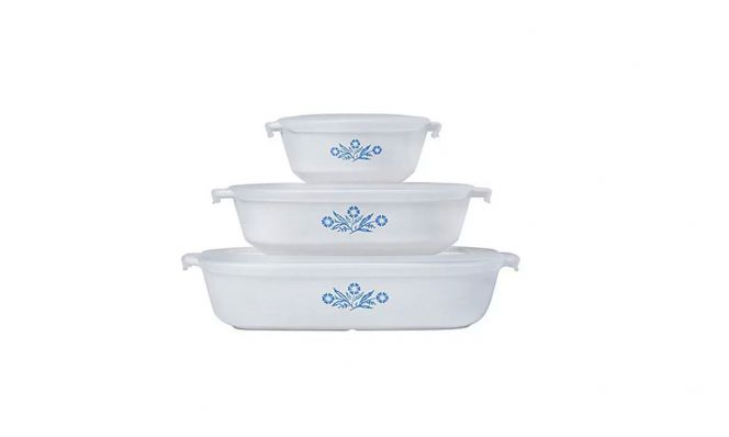 CorningWare in blue and white