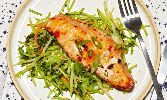 thai-glazed salmon on plate