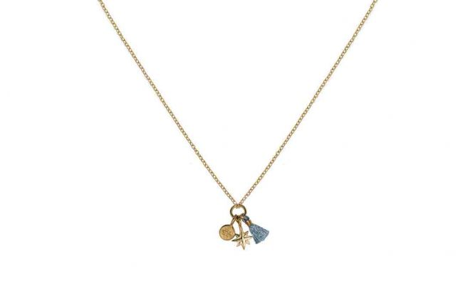 Aha Gold Plated Charm Chain Necklace