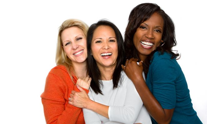 diverse group of beautiful middle-aged women