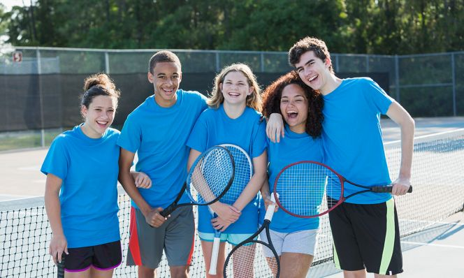 teens at tennis camp