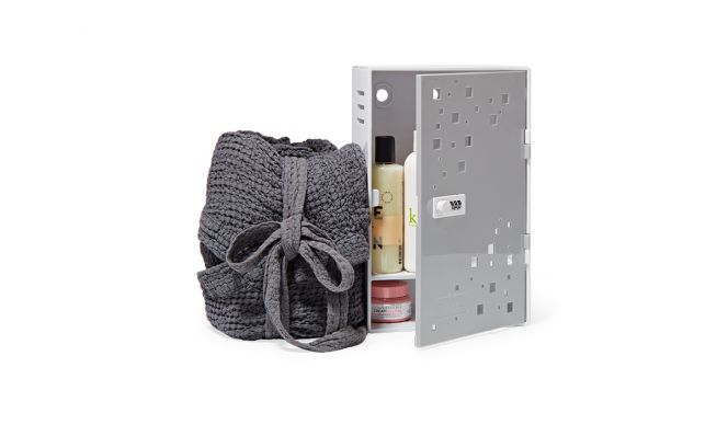 Shlocker dorm safe with bathrobe