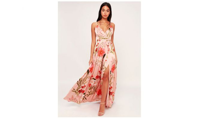 Lulus STILL THE ONE BLUSH PINK FLORAL PRINT SATIN MAXI DRESS