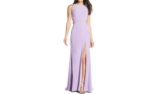 Mac Duggal Jeweled Waist Jersey Evening Dress