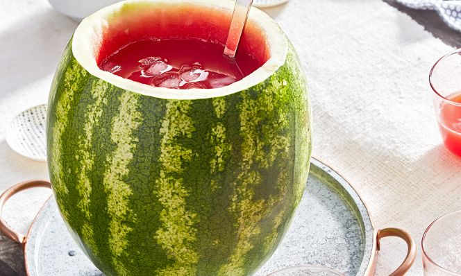 watermelon with agua fresca and ladle